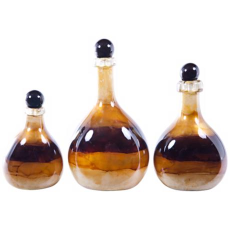 Set of 3 Goldcoast Decorative Glass Bottles with Tops
