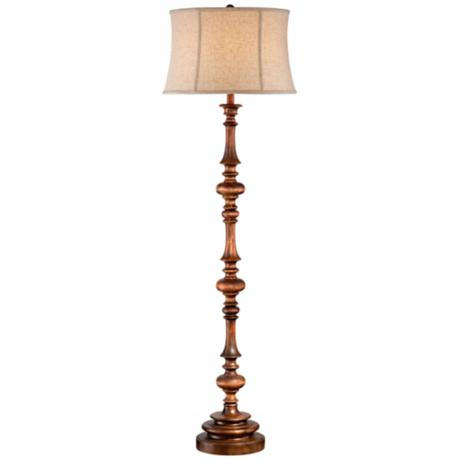 Walnut Turned Column Wood Floor Lamp