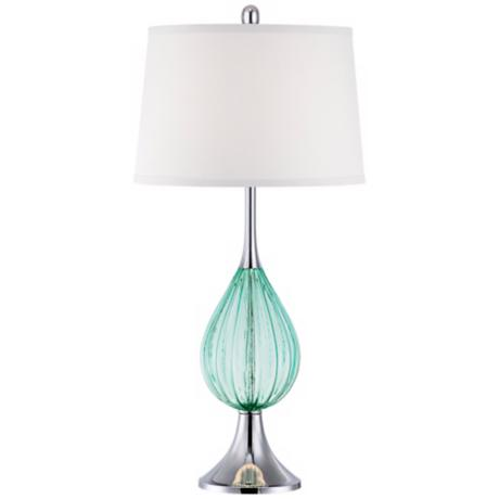 Possini Euro Design  Fluted  Glass Teardrop Lamp