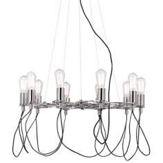 Possini Euro Chrome Edison Style Cluster Bulb Chandelier