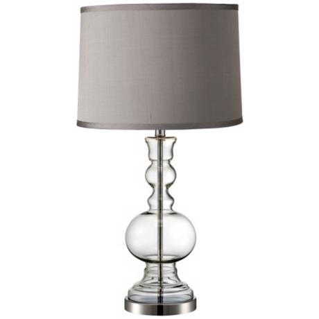 Platinum Grey Dupioni Clear Glass Vase Table Lamp