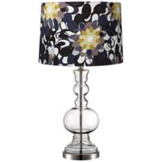 Black and Olive Clear Glass Vase Table Lamp