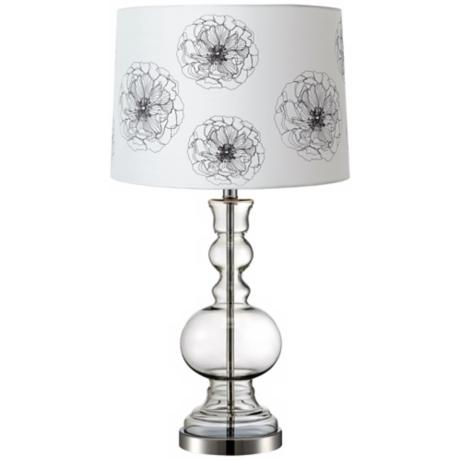Flower Graphic Clear Glass Vase Table Lamp