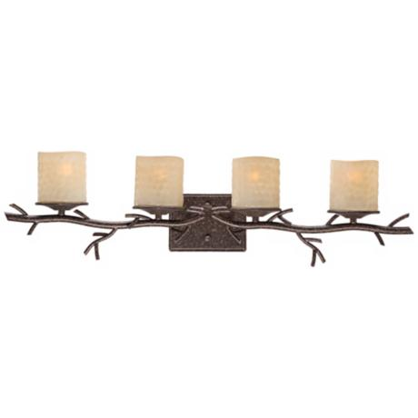 "Twig Faux Candle Glass 33 1/2"" Wide 4-Light Bath Light"