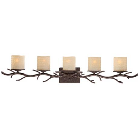 "Twig Faux Candle Glass 40"" Wide 5-Light Bath Light"