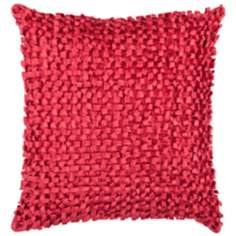 "Surya Looped 18"" Square Red Throw Pillow"