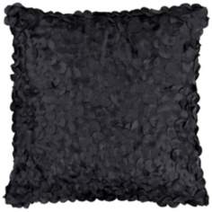 "Surya Circle Applique 18"" Square Caviar Black Accent Pillow"