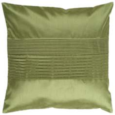"Surya Center Pleated 18"" Avocado Green Throw Pillow"