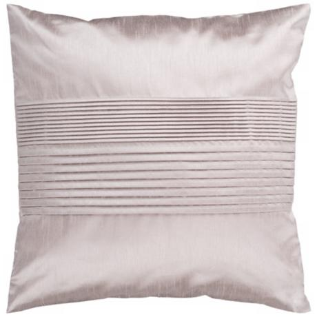 "Surya Center Pleated 18"" Taupe Silver Throw Pillow"