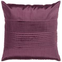 "Surya Center Pleated 18"" Plum Purple Throw Pillow"