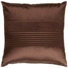"Surya Center Pleated 18"" Espresso Brown Throw Pillow"
