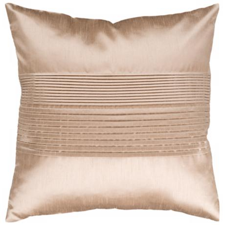 "Surya Center Pleated 18"" Champagne Throw Pillow"