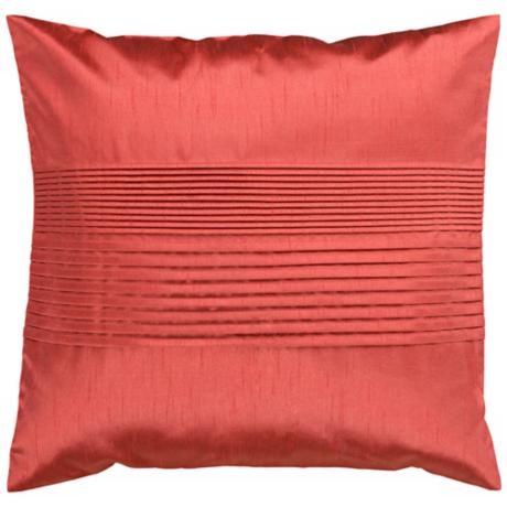 "Surya Center Pleated 18"" Rust Red Throw Pillow"