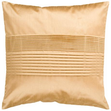 "Surya Center Pleated 18"" Cumin Yellow Throw Pillow"