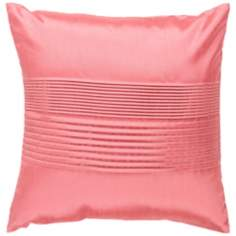 "Surya Center Pleated 18"" Coral Pink Throw Pillow"