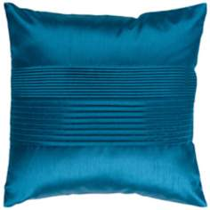 "Surya Center Pleated 18"" Square Teal Throw Pillow"