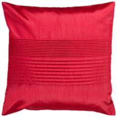 "Surya Center Pleated 18"" Square Red Throw Pillow"
