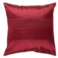 "Surya Center Pleated 18"" Square Maroon Throw Pillow"