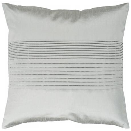 "Surya Center Pleated 18"" Square Silver Seafoam Throw Pillow"