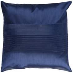 "Surya Center Pleated 18"" Square Navy Throw Pillow"