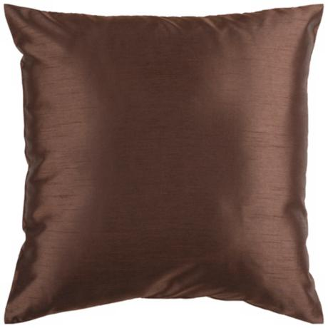 "Surya 18"" Square Espresso Brown Throw Pillow"
