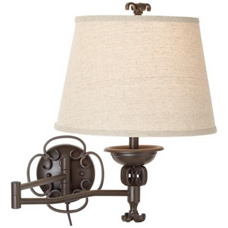 Open Scroll Matte Brown Plug-In Swing Arm Wall Lamp