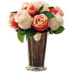 "Jane Seymour 12"" High Peach Roses in Bud Vase"