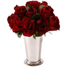 "Jane Seymour 12"" High Red Roses in Bud Vase"