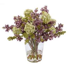 "Jane Seymour 15"" Purple Lilacs Faux Flowers in Glass Vase"