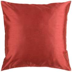 "Surya 18"" Square Rust Clay Red Throw Pillow"