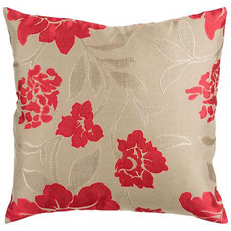 "Surya 18"" Square Floral Red and Beige Throw Pillow"