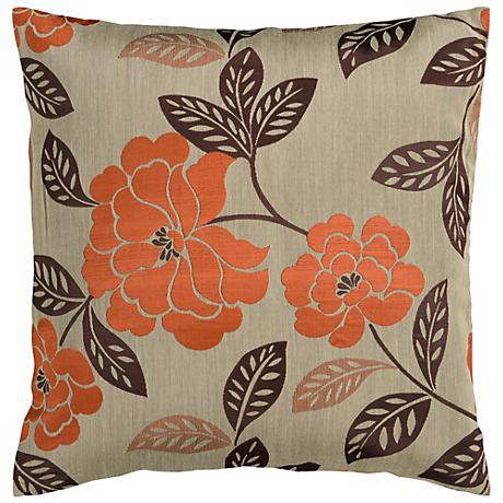 "Surya 18"" Square Gray Sage Floral Throw Pillow"