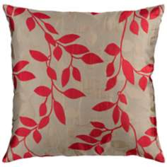"Surya 18"" Square Beige and Red Leaf Throw Pillow"