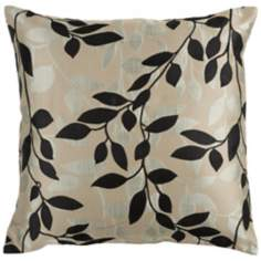"Surya 18"" Square Gray and Black Throw Pillow"