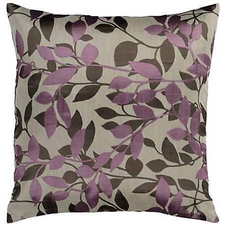 "Surya 18"" Square Oyster Gray and Plum Throw Pillow"