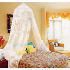 Kathy Ireland White Twin/Full Canopy Bed Netting