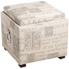 French Script Fabric Upholstered Storage Ottoman