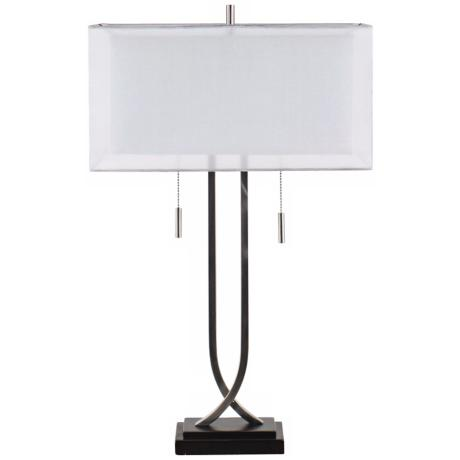 Double Box Shade Nickel Table Lamp