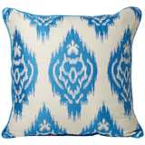 "Ikat 20"" Square Royal Blue Decorative Pillow"