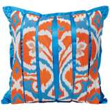 Ikat Cyan / Coral Pleated Decorative Pillow