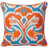 "Ikat 18"" Square Cyan / Coral Decorative Pillow"