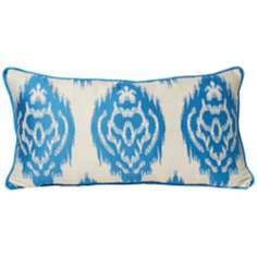 "Ikat 22"" Wide Cyan Decorative Bolster Pillow"