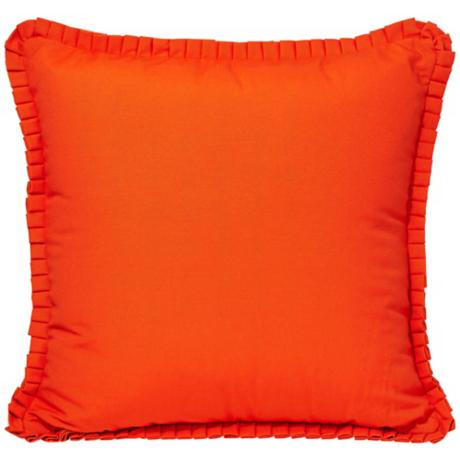 "Tangerine 18"" Square Ruffled Decorative Pillow"