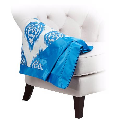 Ikat Reversible Blue / Ivory Decorative Throw