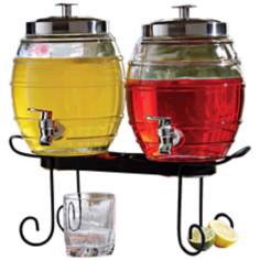Set of 2 Pub Style Glass Beverage Dispensers with Rack