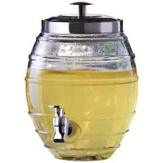 "Barrel 11"" High Decorative Glass Beverage Dispenser"
