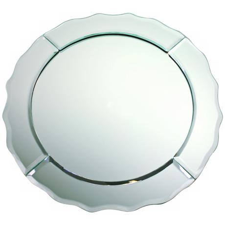 "Scallop Edge 13"" Wide Round Mirror Charger Plate"