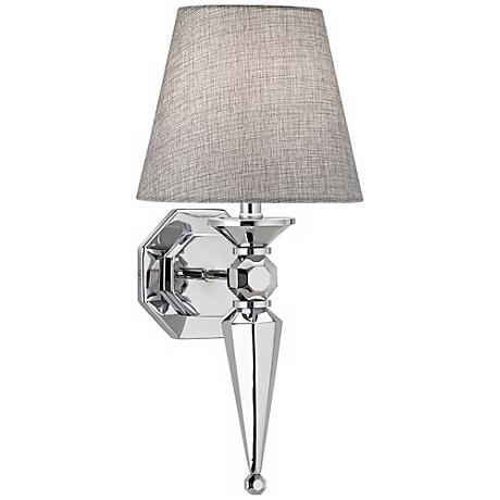 fabric shade 17 1 4 high chrome wall sconce v3573. Black Bedroom Furniture Sets. Home Design Ideas
