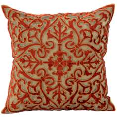 John Richard Gold and Red Crushed Velvet Accent Pillow
