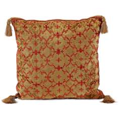 John Richard Gold and Red Velvet Accent Pillow